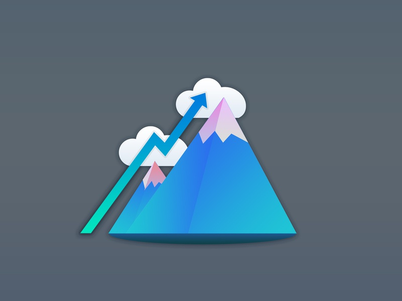 Growth Mindset growth logo growth curve gradient mountains growth