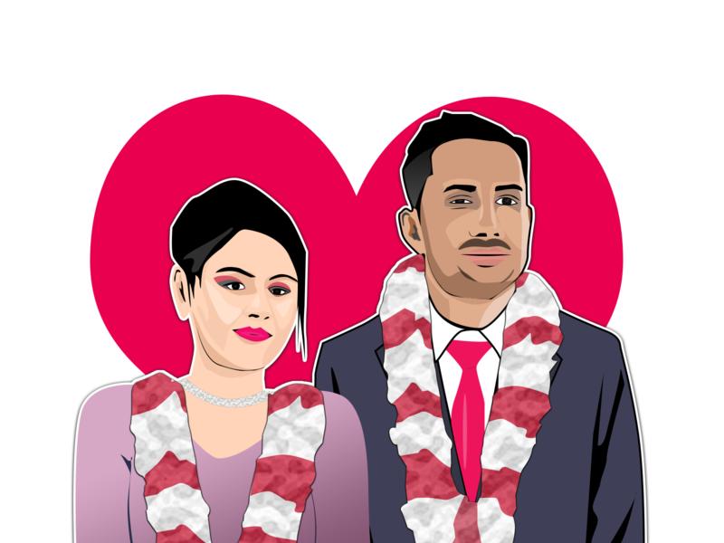 Couple pentool couple marriage illustration portrait vector