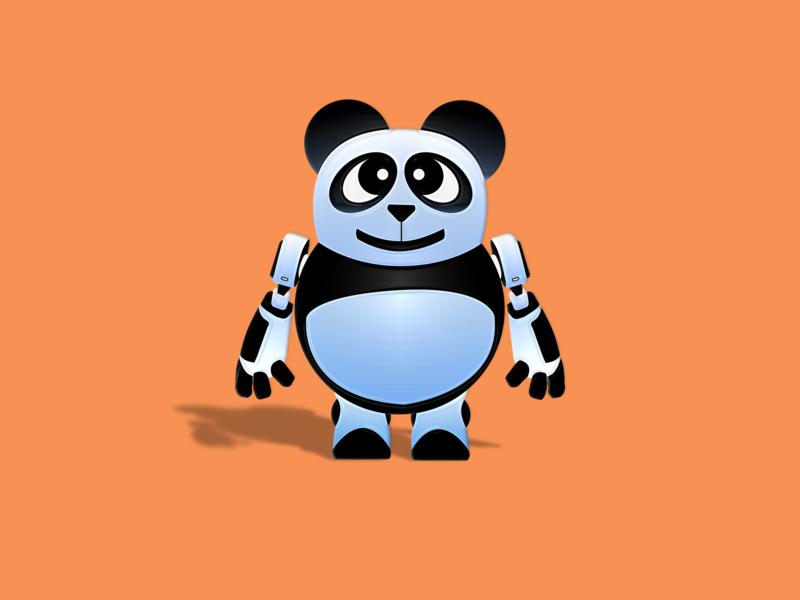 Pandabot symmetry machine cute illustration bots robot vector