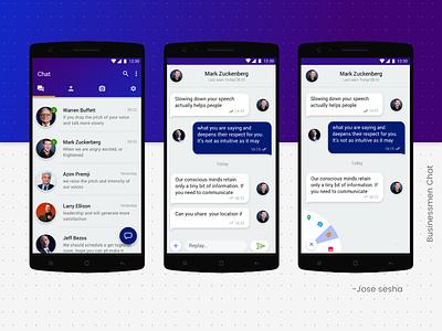 Businessmen Chat ux purpleui colorfull color clean chat app