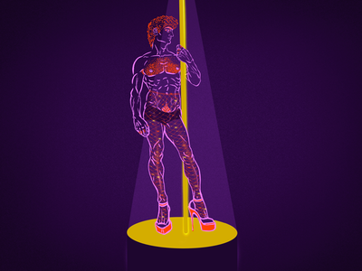 David - The stripper digital sketch night club illustrator artist flat illustration digital art procreate digital illustration dancer pop art renaissance michelangelo stripper illustration david
