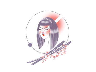 Samurai graphic procreate flat illustration fighter sakura sword samurai illustrator graphic web design ux ui digital artist digital art digital illustration illustration japanese japan