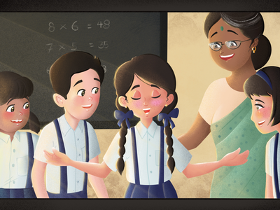 My first day of school india children texture graphic design indian artist school digital artist animation digital art procreate illustration digital illustration