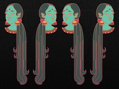 Vector Bengal bengali ethnic woman illustration woman portal vector graphics webillustration user inteface flat design character design pattern colorful exotic indian vector artwork illustration illustrate