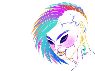 Lost Villain rainbow vector graphics graphic art artwork digital illustration anime colourful character sketch character design concept art design illustration