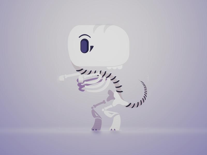 RIP-O-SAUR! yawnosaurus fossil t-rex dinosaur skeleton character design vector illustration