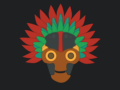 Aztech mask colorful game mobile icon design mask