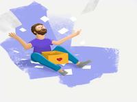 Illustration of man throwing photos
