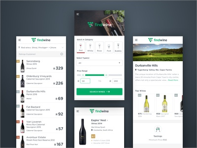 Findwine App clean filters search wine green icons app web mobile ui