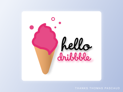 Hello Dribbble ! icecream pink invite hello firstshot debut
