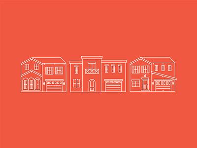 Line Houses neighborhood building line icon icon house