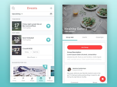 Events & Groups product design groups events app ios ui ux