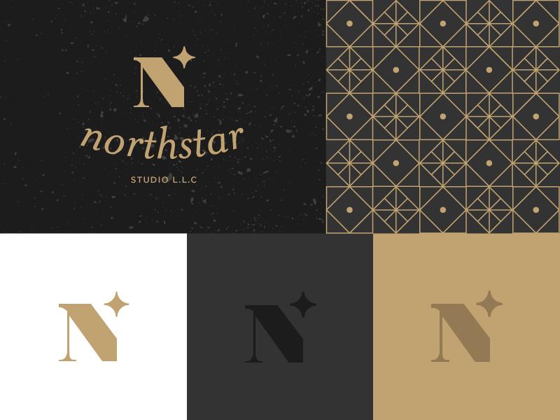 North Star Studio logo distress pattern star gold black freelance llc studio branding