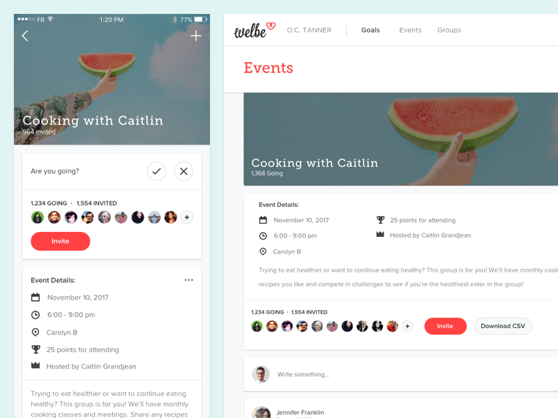 New Welbe Events social desktop ios accept invite comments events