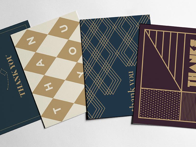 Postcards geometric print thanks thank you postcard
