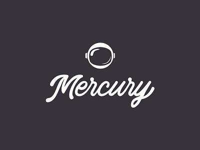 Mercury Logo mercury astronaut white black lettering type logo