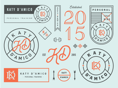 Personal Trainer brand monogram badge branding typography type lockup logo fitness