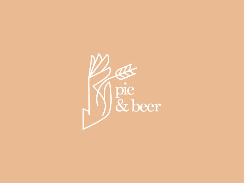 Pie & Beer line illustration wheat hand logo beer pie