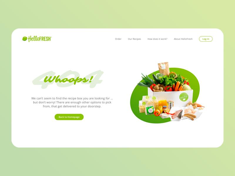HelloFresh - 404 page food recipe-box restaurant web 404page