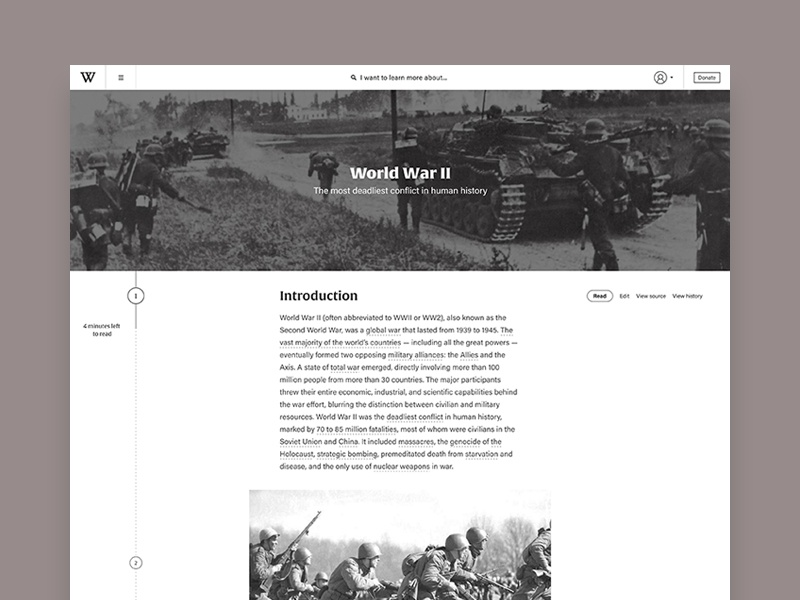 Wikipedia Redesign information history wikipedia