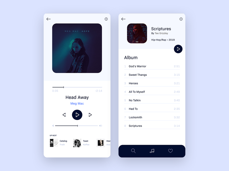 Minimal Music Player - App Concept design ux ui music player concept music player ui music player app media player minimalism minimal music player flat app design adobe xd
