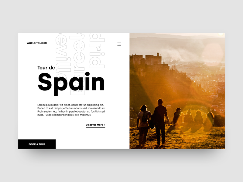 World Tourism - Spain article article page typography minimalism design landing page photoshop adobe xd web design minimal ux ui