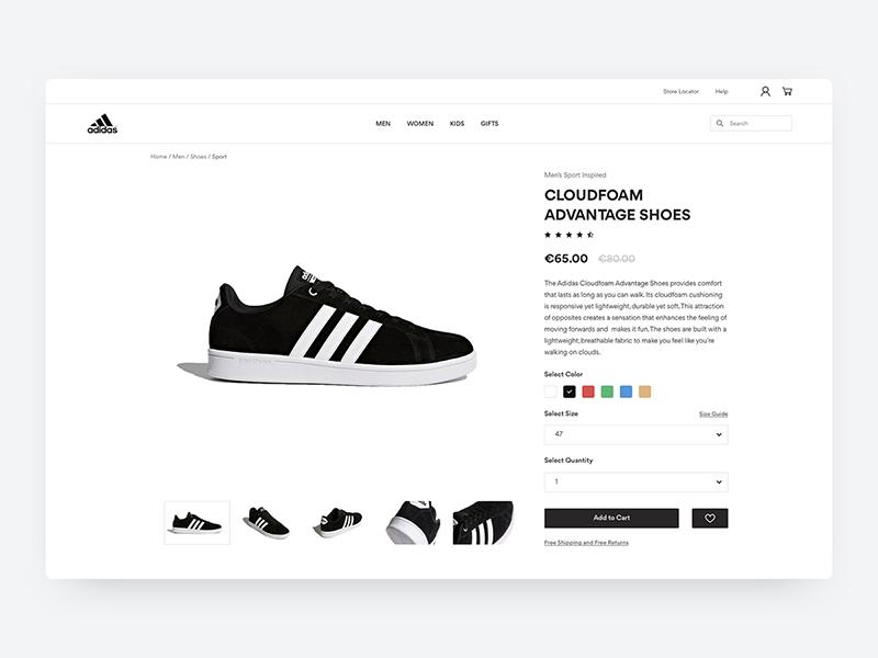 Adidas Product Page ux ui brand task challenge description cart buy black white clean e-commerce ecommerce shop adidas product page