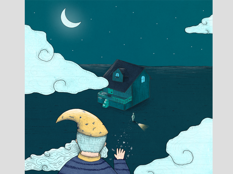 Wishful Thinking peace relaxed sea moon texture illustration sunday rafikillustrate