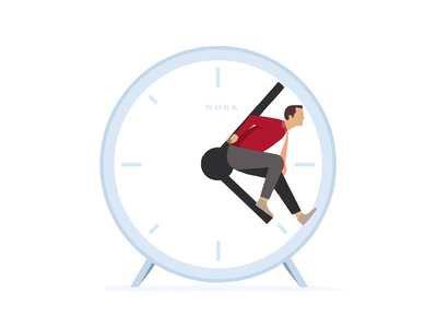 Stuck in time illustration timeless udhaya payroll hr gesture human pose clock employee productivity management time stuck illustration