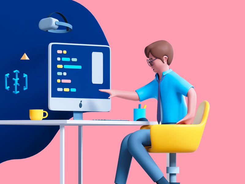 Access to Technology udhaya timeless employee chair touch computer 3d art character art design human character access illustration