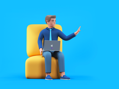 Waiting Accountant character sitting employee worker tie math welcome hifi timeless udhaya jamm apple laptop computer sofa accountant illustration 3d