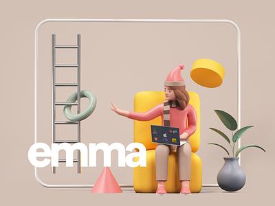Work From Home Illustration design udhaya timeless woman vase ladder plant couch sitting sphere character illustration 3d home work developer