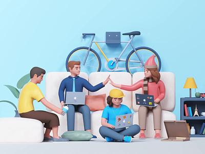 Social Distancing App Illustration webdesign team developer designer sofa chair udhaya home from work videochat timeless corona social distancing illustration
