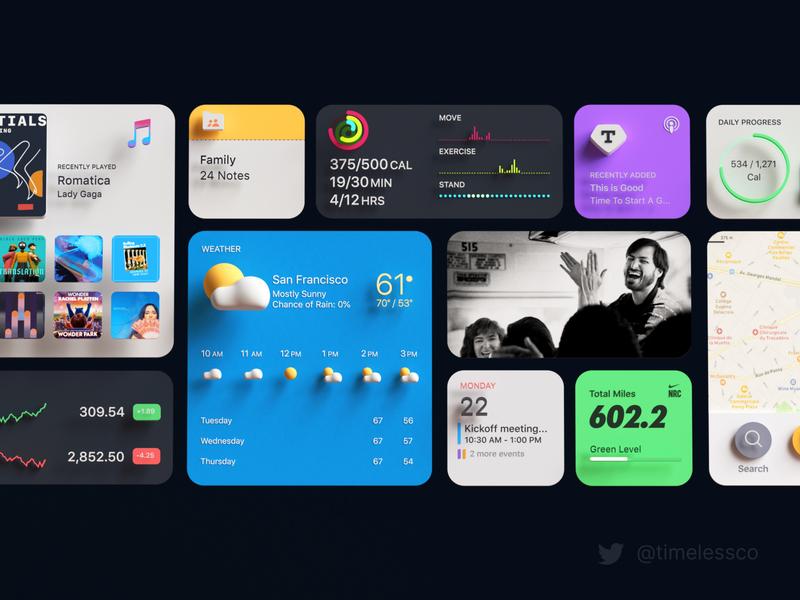iOS 14 widgets timeless widgets illustration music maps calendar run calories photos weather ios apple