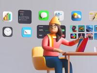 crafting fun trash pen calendar charts settings app store podcast love woman apple fun widgets icon illustration ios mac big sur