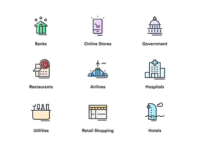 Sector Icons utilities hospital flight aeroplane airline restaurant white house government shopping stores online bank