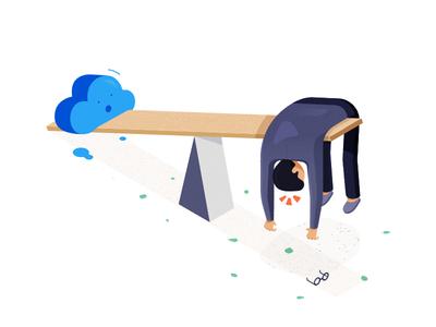 CRM weighing down salesman illustration