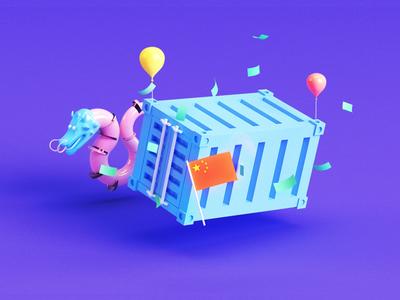 Dragon Fest illustration try illustration china money baloon dragon container