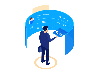 Contact Management illustration ux ui data isometric display standing corporate dashboard