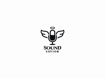 Sound Saviour (unused) for sale! black type logo bas angel ring wings wing microphone mic savior sound logo designer icon designer brand designer brand design identity designer identity baspixels