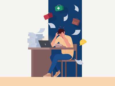 Overwhelmed Manager Illustration timeless busy resource hr office laptop gift papers confused paper illustration agency manager overwhelmed