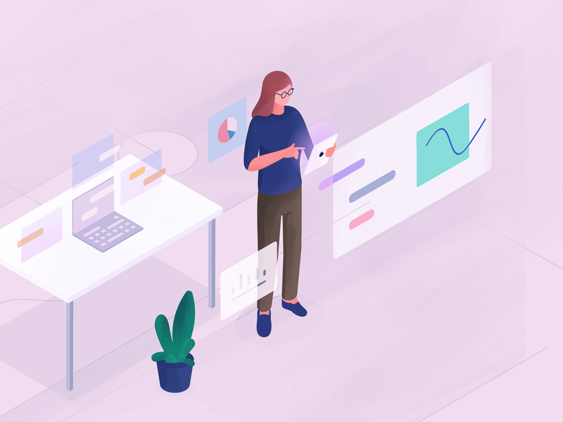Product management illustration chart workspace confusion data analytics data woman clutter 3d 2d illustration isometric management product