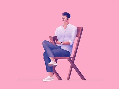 Reading Illustration landing page chair design timeless recommendation illustration human posture sitting man book reading