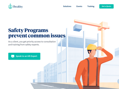 Employee Safety Page webdesign website management human resource illustrated marketing site illustration construction worker landingpage safety employee