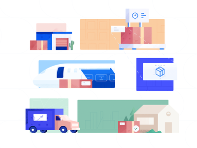 Shipment logistics illustration shipping movement transportation warehouse logistics shipment flight homepage plane