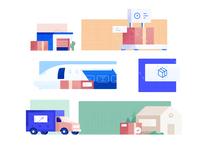 Shipment logistics illustration