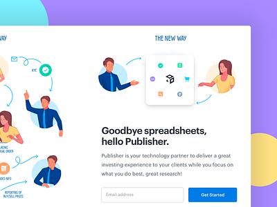 Publisher Page Before-after Illustration website design before after marketing site intercom landing page ui design web design webdesign