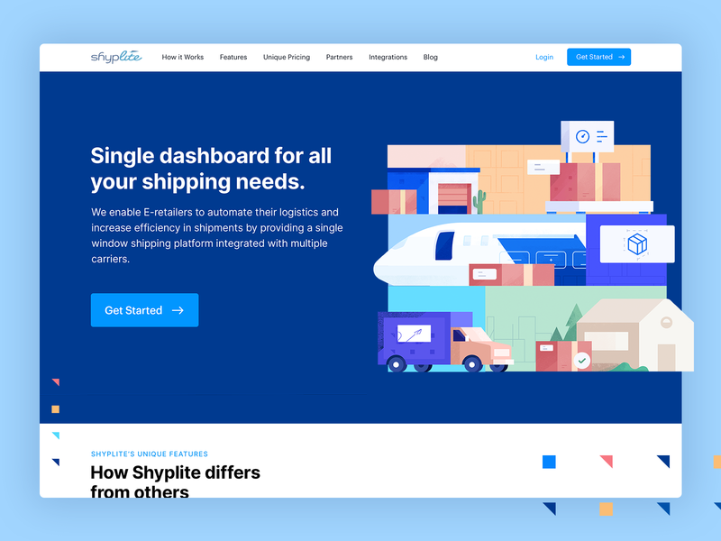 Logistics Landing  Page weight planet truck shipping transport logistics landing page web design
