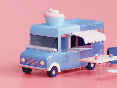 Ice Cream Truck all timeless uiux design udhaya render truck icecream ice illustration