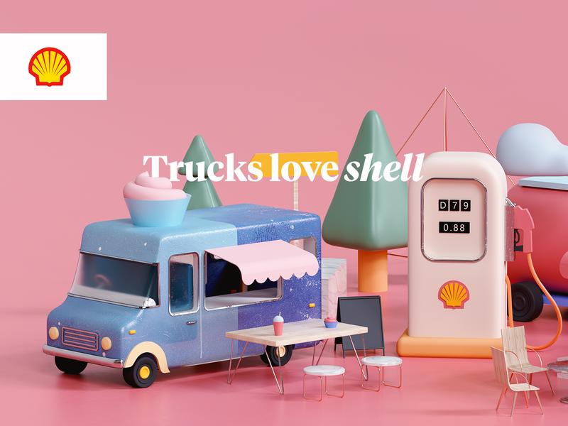 Trucks love Shell timeless udhaya gas gasoline highways ice cream fuel highway petrol truck illustration advertisement shell